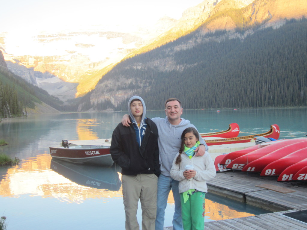 Canoeing in Lake Louise & watching the sunrise with my kids...as the mountains and lake turned yellow color. Magical, truly Priceless