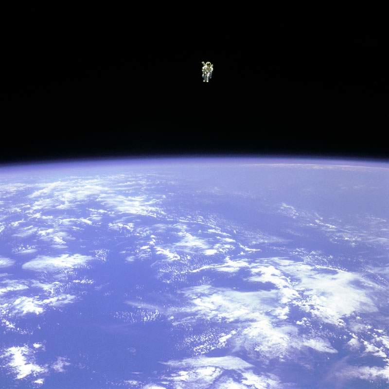 http://twistedsifter.com/2013/10/the-first-untethered-free-flight-in-space/