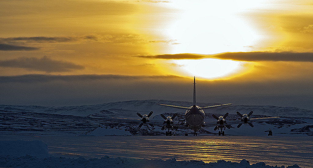 Greenland icy airplane