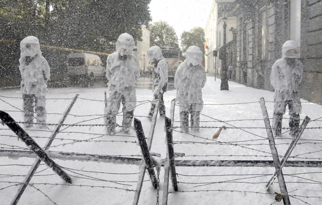 Belgian riot police foam