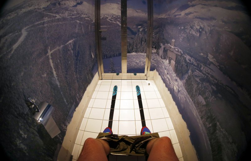 Sochi Russia bathroom stall scenic viewRed Fox restaurant