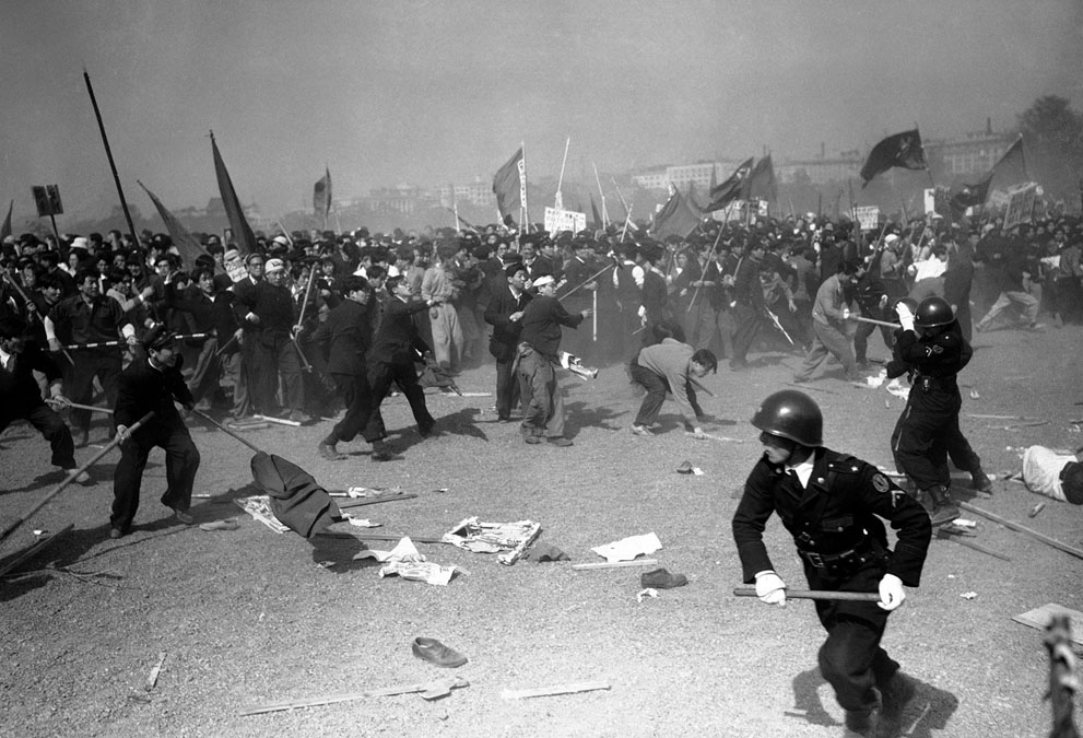 Japan communists riots 1952 policemen demonstrations