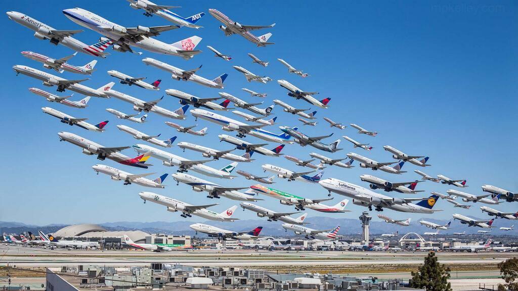 LAX take offs airplanes
