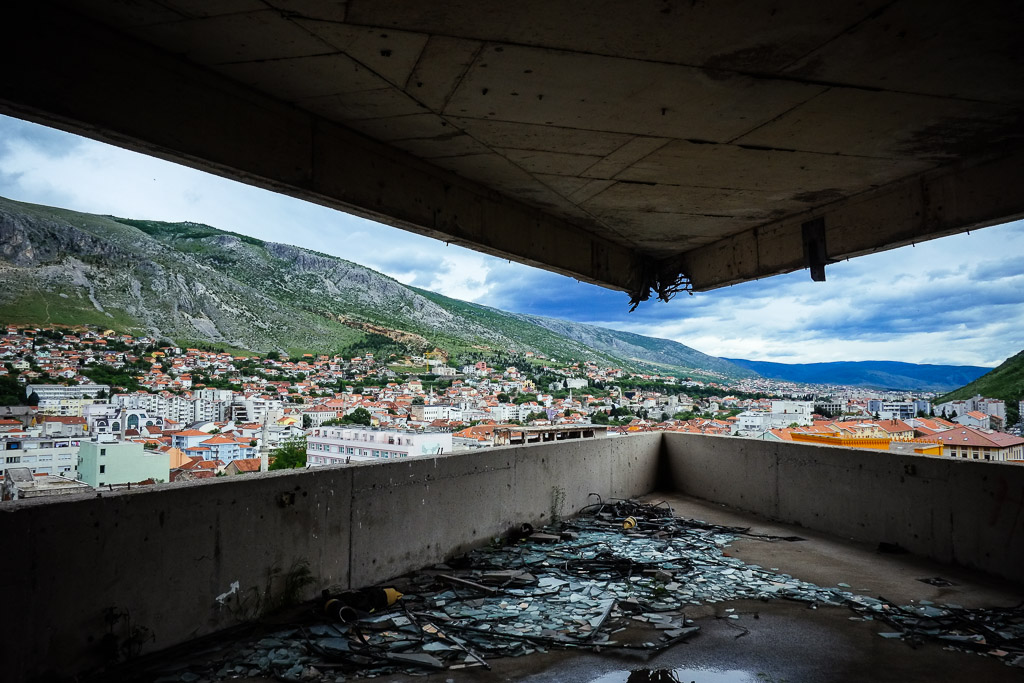 View from the abandoned bank tower in Mostar, Bosnia and Herzegovina. Used as a snipers-nest during the war of the 1990′s.