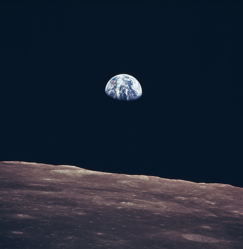 This incredible image of the Earth rise was taken during lunar orbit by the Apollo 11 mission crew in July of 1969.