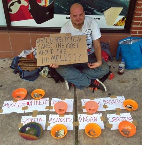 homeless cups religions christian muslim buddhist