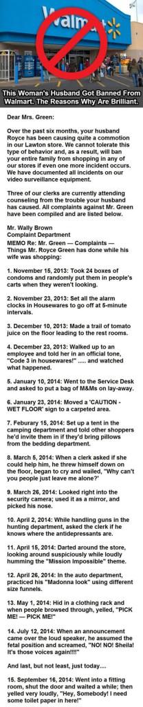 tbb wal mart customer banned behavior