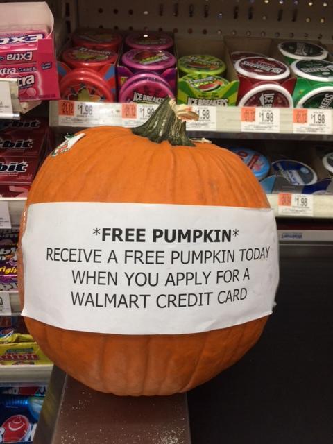 wal mart credit card free pumpkin